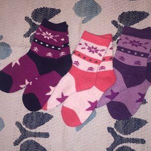 Three pair girls wools socks